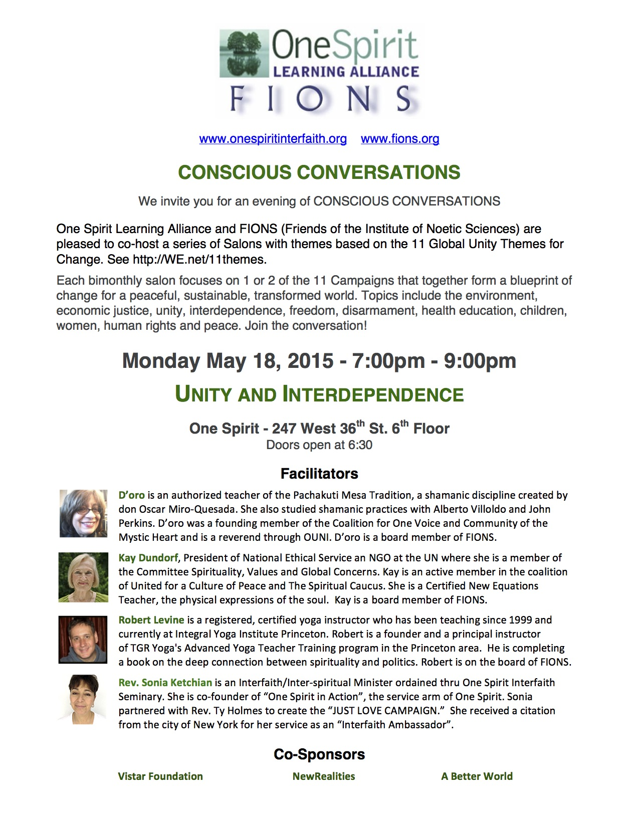 FIONS – One Spirit Salon: Conscious Conversations on Unity & Interdependence, May 18