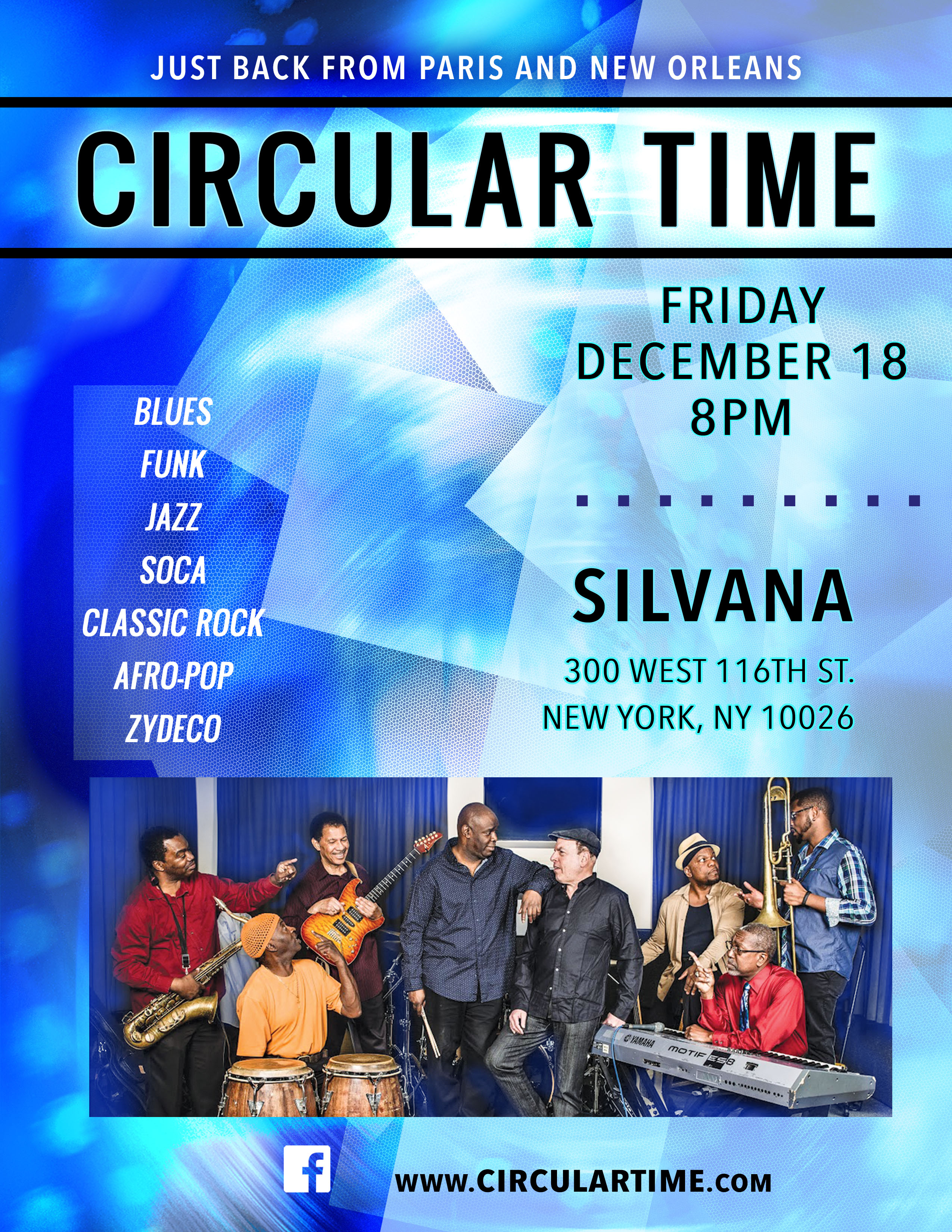Circular Time Band, Just Back from Paris & New Orleans, in NYC, Fri., Dec. 18, 8pm, Silvana, 330 W. 116th St.