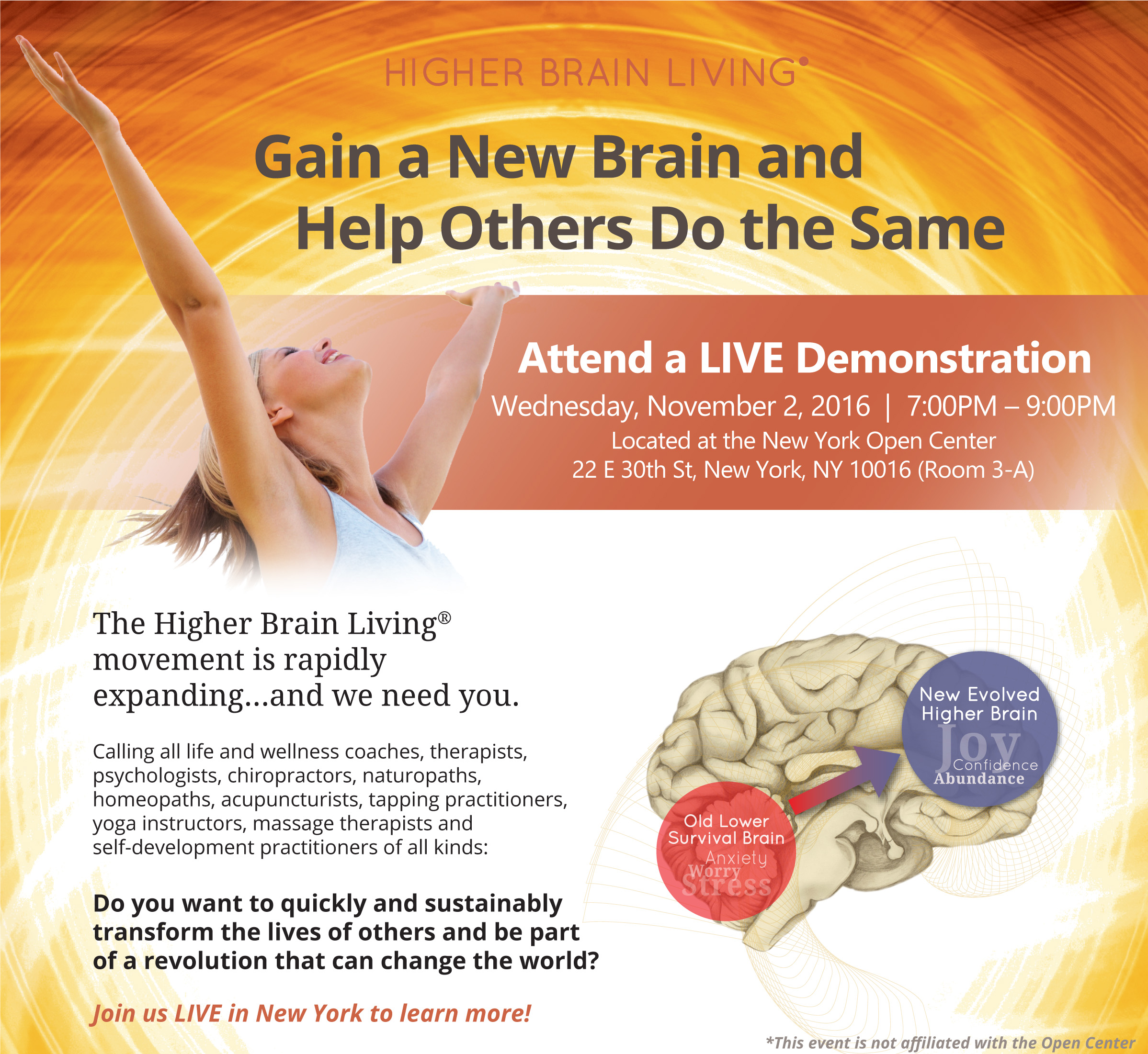 Live Higher Brain Living Demo in NYC, Nov. 2, 7-9 at Open Center